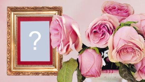 Beautiful photo montage with golden frame and vase of roses! Add your photo!