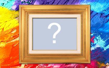 Montagem com fundo abstrato colorido e moldura dourada. Adicione uma foto!