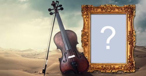Adicione sua foto preferida em uma linda montagem com violino e moldura dourada!