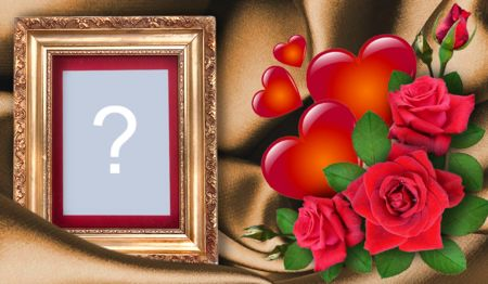 Beautiful frame with arrangement of red roses and hearts. Add a photo of yourself!