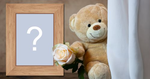 Photo Frame with a teddy bear holding a rose. Add your photo!
