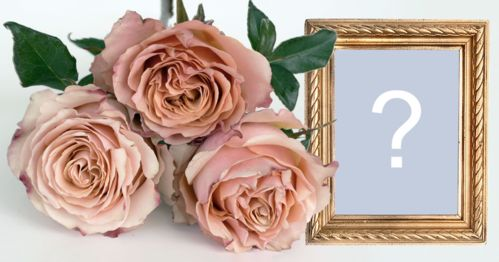 Beautiful photo frame with golden border and 3 roses! Add a photo!
