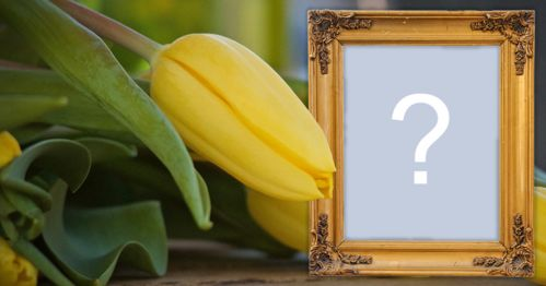 Photo frame with yellow flower and wooden border! Add a photo!