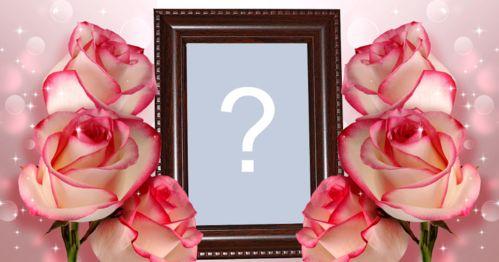 Montagem de foto com moldura de madeira com rosas em volta. Adicione uma foto!