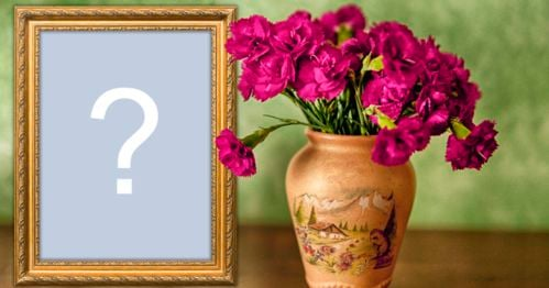 Add a photo to this beautiful frame with a vase full of flowers and a golden border!