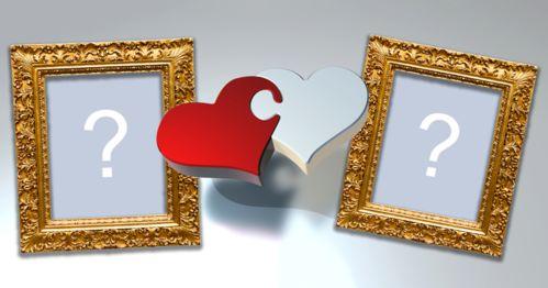 İki fotoğraf için kalplerin bulmaca ile çerçeve!