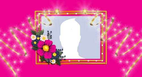 Beautiful pink frame with flowers. Add your photo!