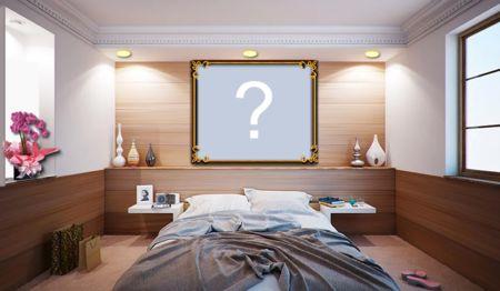 Montagem com foto na parede do quarto. Adicione sua foto!