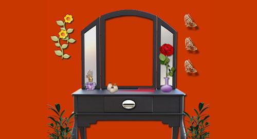 Montagem com a sua foto refletida no espelho da penteadeira. Adicione uma foto!