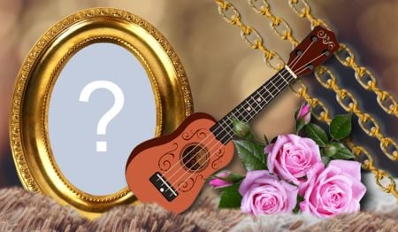 Beautiful frame with musical instrument. Add your photo!