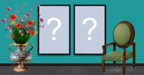 Linda moldura com duas fotos na parede azul. Adicione suas fotos!