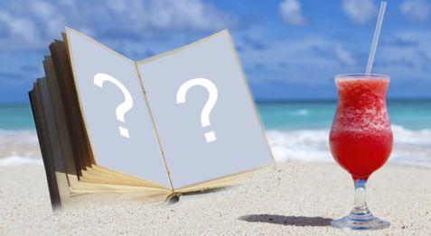 Linda moldura com albúm de Fotos na Areia da praia. Adicione duas fotos!
