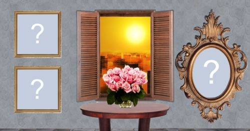 Beautiful frame with sunset at the window. Make yours with 3 photos!