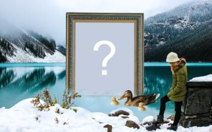 Beautiful montage with frame in the frozen pond. Add a photo!