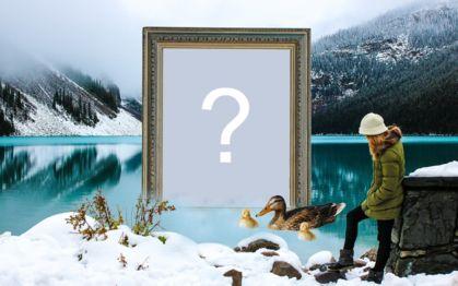 Linda montagem com moldura na lagoa gelada. Adicione uma foto!