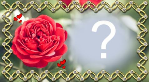 Beautiful golden border frame with rose. Add your photo!