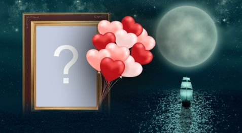 Beautiful frame with red balloons in the water. Add a photo!
