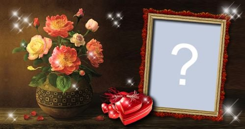 Add your photo in this frame with a beautiful flower vase!