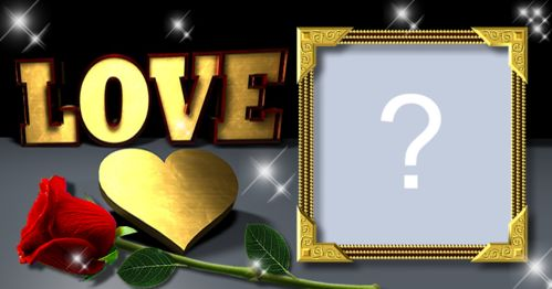 Beautiful frame with golden heart written Love. Add a photo and make yours!