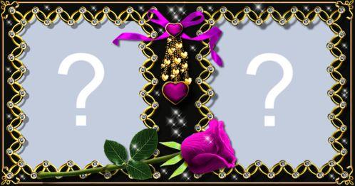 Moldura de duas fotos com bordas dourada e rosa pink. Adicione uma foto!