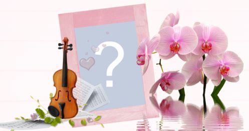 Frame of pink orchids and violin.