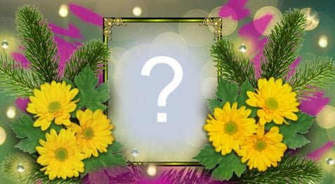 Put your photo in this beautiful frame with yellow flowers!