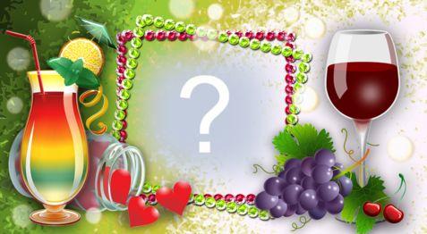 Setzen Sie Ihr Foto in diesen schönen Rahmen mit Früchten und Säften!