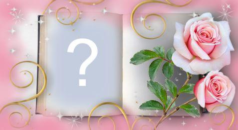 Schöner Albumrahmen mit Rosen. Füge ein Foto hinzu!