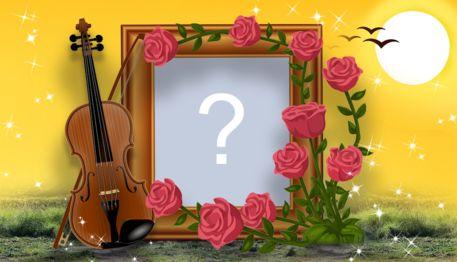 Schöner Rahmen mit Musikinstrument und Blumenarrangement. Füge ein Foto hinzu!
