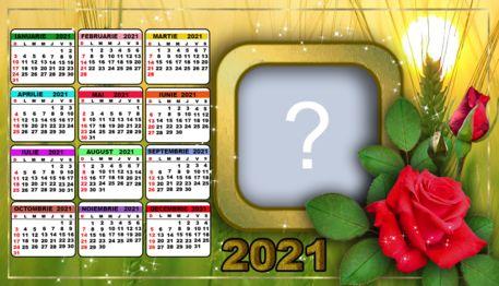 Calendarul 2021 cu trandafir roșu. Adauga o fotografie!