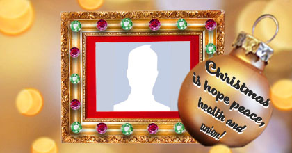 Beautiful frame with Christmas message on the ball. Add a photo!