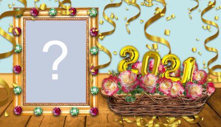 Cadru frumos cu aranjament floral pentru Anul Nou. Adaugă fotografia ta!