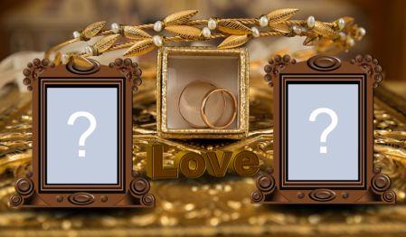 Linda moldura dourada de noivado e casamento para adicionar duas fotos!