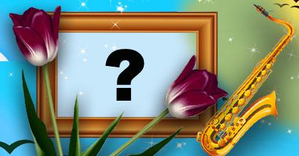 Linda moldura de instumento Saxofone com tulipas. Adicione sua foto!