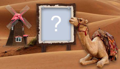 Moldura digital com camelo no deserto. Adicione uma foto e faça a sua!