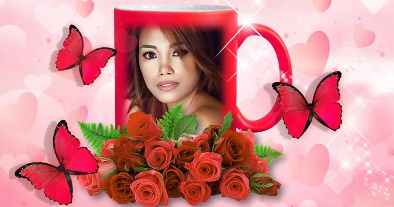 Coloque sua foto nesta linda moldura de caneca rosa!