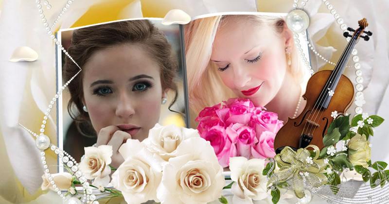 Coloque sua foto neste lindo álbum  de fotos com rosas brabcas!