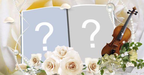 Coloque suas fotos em um lindo album com rosas  branca!