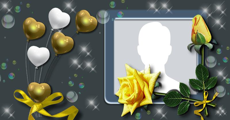 Moldura com balões dourados e rosa amarela. Adicione a sua foto!