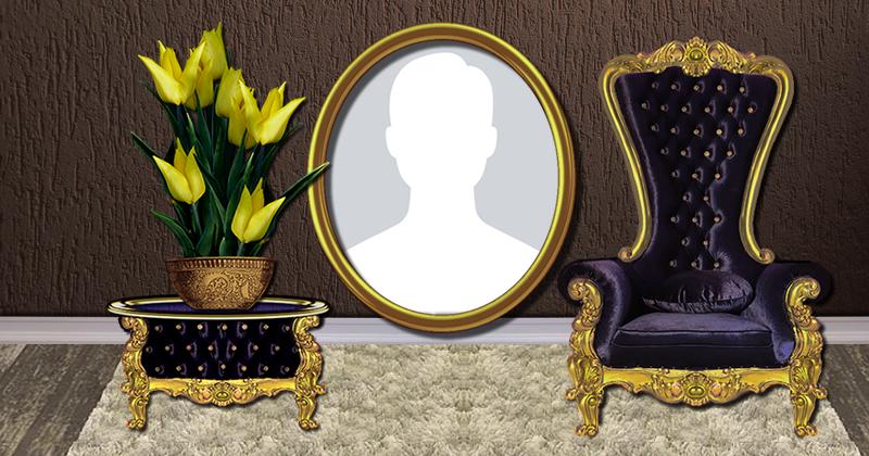 Linda moldura com poltrona e arranjo de flor amarela. Adicione a sua foto!