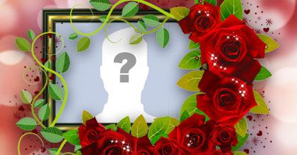 Linda moldura com arranjo de rosas vermelhas na borda. Adicione a sua foto!