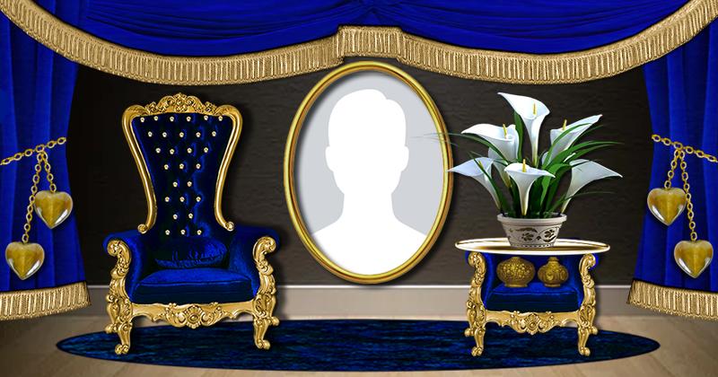Linda moldura com poltrona e cortina azul. Adicione a sua foto