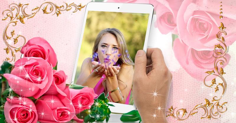Linda moldura com rosas!