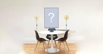Adicione sua foto na parede de uma linda sala de jantar!