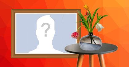Quadro de foto com vaso de tulipas. Adicione sua foto!