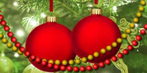 Montagem com duas fotos na Bolinha de Natal. Faça a sua!