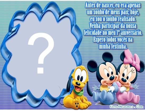 Moldura Convite De 1 Ano Baby Disney Para Menino