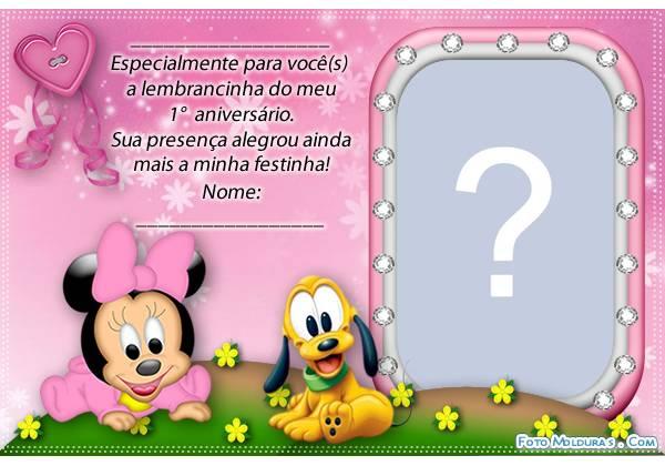 Moldura Lembranca De 1 Ano Da Minnie Baby
